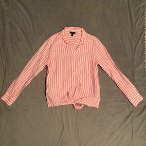 J. Crew Pink Striped Tie Front Linen Button Down 8
